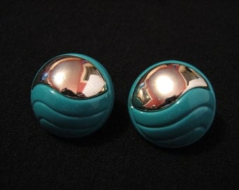 Vintage Silver Tone and Aqua Teal Blue Round Lucite Pierced Earrings
