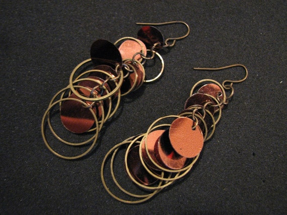 Vintage 80's Copper Brass Sequin Dangle Circle Earrings