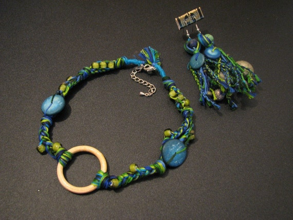 Handmade Recycled Bohemian Rainforest Embroidery Thread Choker Necklace and Earring Set
