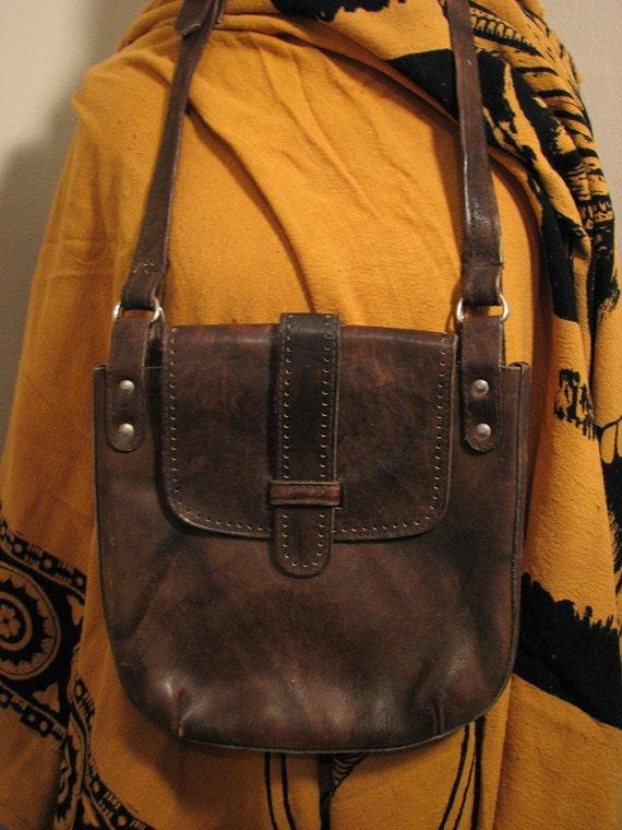 Vintage Distressed Genuine Brown Leather Messenger Bag
