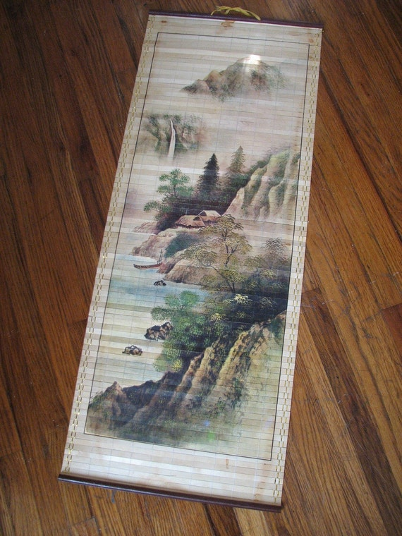 Vintage Bamboo Oriental Mountain Waterfall Scenery Painted Wall Hanging
