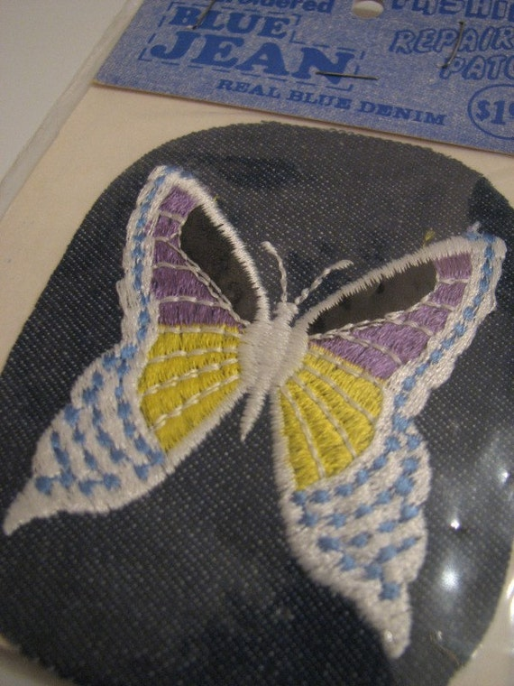 Vintage Purple White Butterfly Blue Jean Denim Fashion Repair Patch