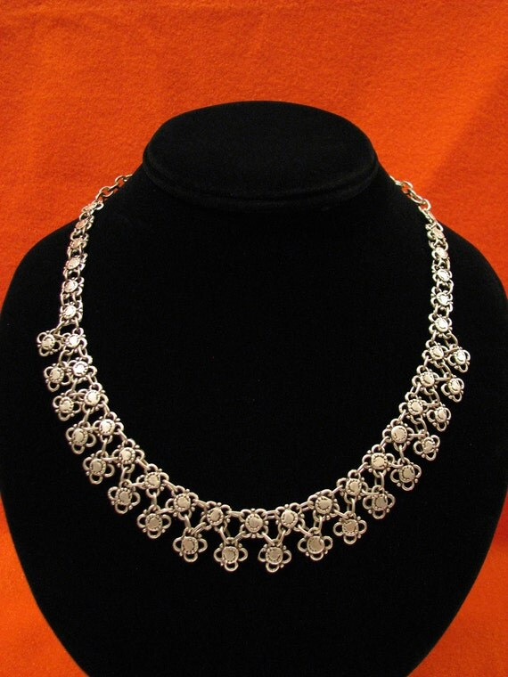 SALE Antique Deco Silver Tone Tribal Chain Mail Link Choker Necklace