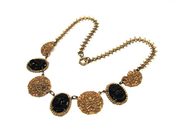 Antique Victorian Deco Black Glass Cameo Gold Gilt Delicate Book Chain Link Choker Necklace