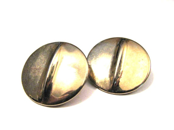 Vintage Big Gold Tone Round Wave Clip Earrings