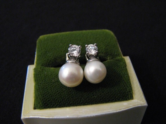 Vintage Silver Tone White Faux Pearl and Diamond Rhinestone Pierced Earrings
