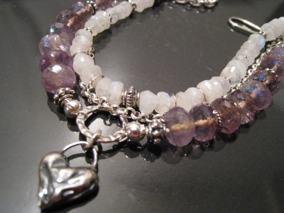 Black Friday Sale... Purple Fire...Firery Blue Flash Amethyst and Rainbow Moonstone Sterling Silver Bracelet