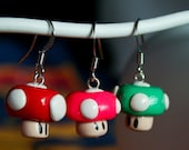 Pink, green and red mushroom earrings