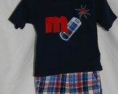 Custom Boys Boutique Style July 4th Firecracker and Monogram Initial Outfit