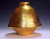 Ceramic vessel, gold finish floor vase