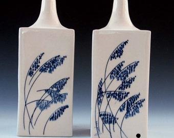 Lamp base set of matching porcelain ceramic pieces