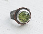 Small Sterling Moss Terrarium Ring