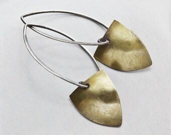 Sterling and Brass Battle Armor Earrings