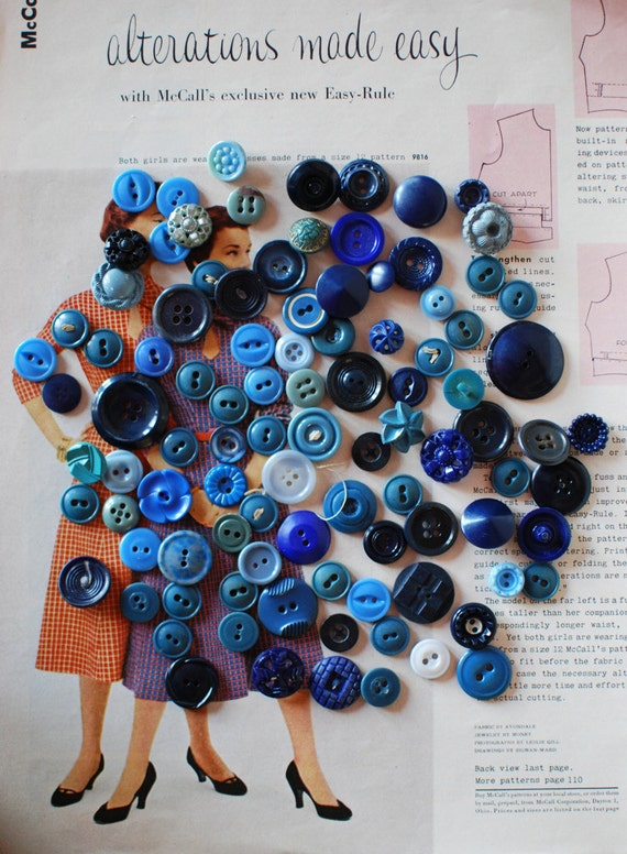 Lot of Shades of Blue Buttons 100 Bulk