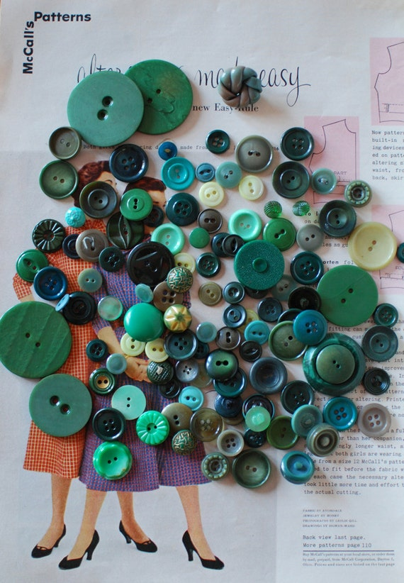 Lot of Shades of Green Buttons 120 Bulk