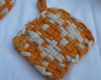 Trio of Orange and White Pot Holders /  Mug Rug, Go VOLS