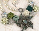 Bridal Statement Bib Necklace with Repurposed Vintage Brooches, Satin Rosettes and Czech Pearls- Fit for a Queen