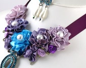 50 Percent off - Grace- Statement Necklace Set with Handmade Satin Flowers and Repurposed Brooch