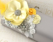 Bridal Clutch- Party Clutch in Silver, White and Yellow with Satin Flowers, Pearls, Brooches and Feathers