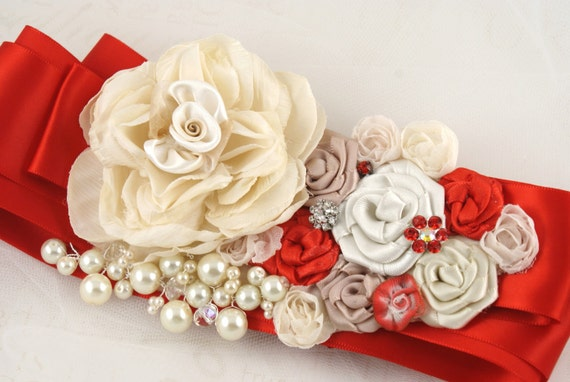 CUSTOM ORDER for Nancy -  Bridal Sash Red and Cream with Silk and Satin Flowers, Pearls Jewels and Crystals - Esperanza
