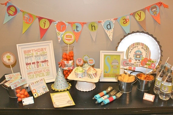 Robot Baby Shower Printable Kit, Custom