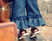 "The euro ruffle capri pants in ""indigo stovepipe"" denim - sizes 6-12m, 12-18m, 18-24m, 2T, 3T, 4T"