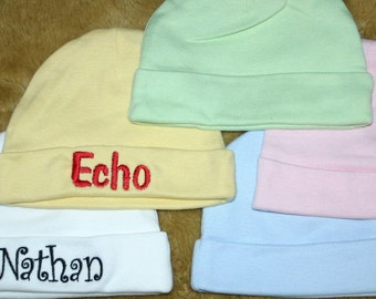 Personalized Baby hat.  Cotton Baby Hat Embroidered with Name. Monogrammed  Black, Pink, Blue, White, Green, or Yellow
