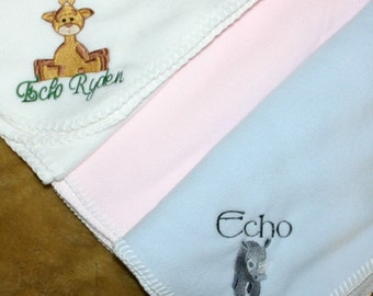 Personalized  Monogrammed Fleece Baby Blanket  3 colors to choose from