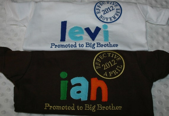 Promoted to Big Brother Shirt  Custom Name and date embroidered