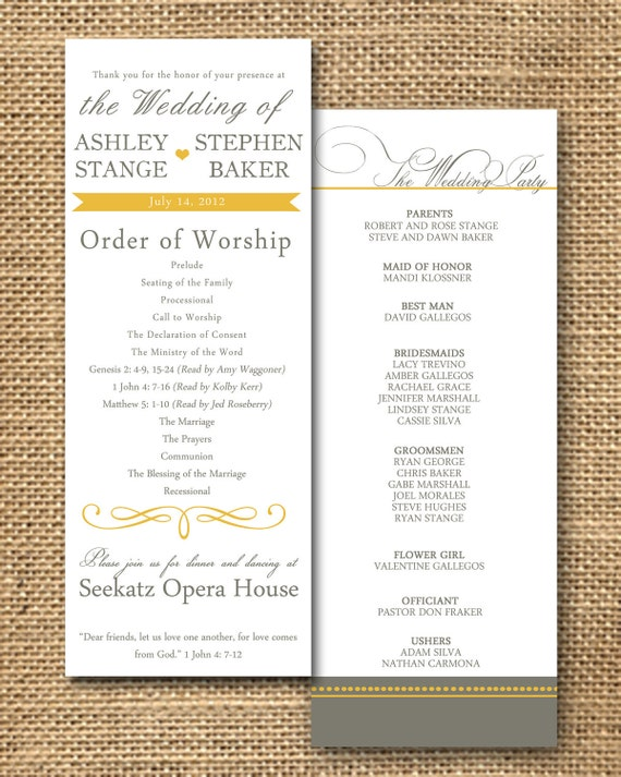 Items Similar To Gray And Poppy Yellow Wedding Program On Etsy