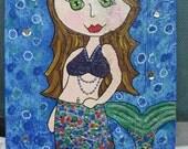 8x10 whimsical Mixed Media Mermaid fantasy painting original Folk Art for baby nursery wall art or Kids room decor