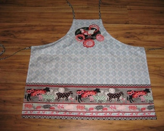 Apron,Farm, animal,urban,pink,black,grey,white PRICE REDUCED!