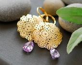 Purple earrings, purple wedding jewelry, Golden garden earrings
