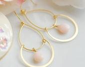 Pink opal double hoop earrings