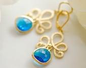 Peacock blue glass earrings in gold, Blue bridal earrings, Something Blue