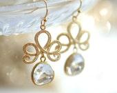 Clear earrings, Clear crystal earrings, Clear glass earrings, Gold bridal earrings, Gold dangle earrings, Drop crystal earrings