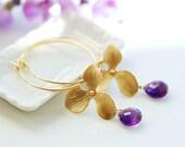 Amethyst earrings, Gold gemstone earrings, orchid earrings, hoop earrings, purple earrings, Bridesmaids Earrings, Purple amethyst earrings