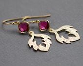 July birthstone jewelry, Ruby earrings, Gold feather earrings, Fuchsia earrings, Bohemian earrings, Gold filled earrings, Dangle earrings
