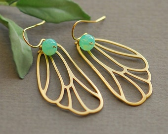 Butterfly earrings, Butterfly wing earrings, butterfly jewelry, gold butterfly earrings, aqua earrings, gold earrings, opal earrings