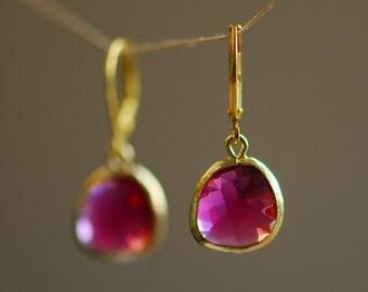 Ruby jewelry, Ruby earrings, Little fuchsia glass earrings