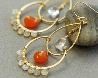 Carnelian earrings, Opal earrings, Crystal quartz earrings, orange chandelier earrings, orange and gold, gemstone gold earrings