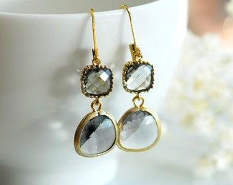 Black diamond earrings, black diamond drop earrings, Grey Yellow gold earrings, grey dangle earrings, Bridesmaids earrings