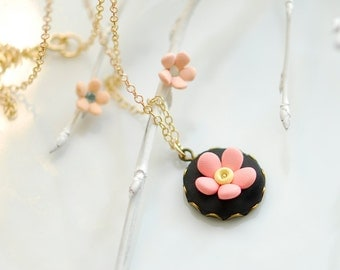 Polymer Clay Necklace, Black necklace, Flower necklace, Pink and black wedding, Peach necklace, Polymer clay jewelry, Fimo jewelry