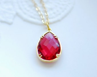 Ruby necklace, July birthstone necklace, Ruby teardrop necklace, Ruby red necklace, gold and ruby necklace, drop necklace, Bridesmaids