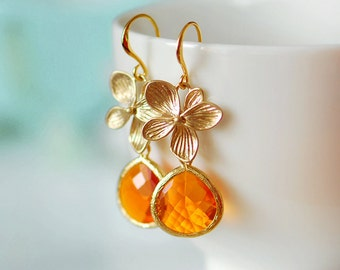 Orange wedding, Orange earrings, Orange dangle earrings, Orange crystal earrings, Gold and orange earrings,  Tangerine earrings