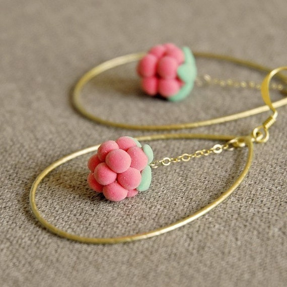 Polymer clay jewelry, polymer clay earrings, big hoop earrings, pink earrings, unique jewelry, Frosted raspberry earrings