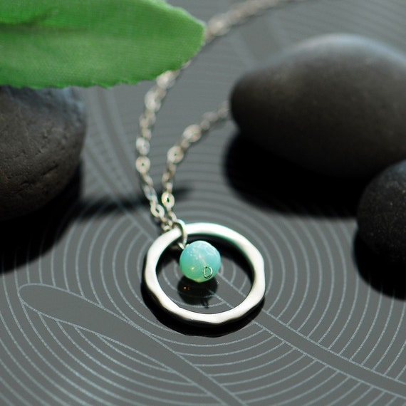 Aqua hoop necklace in silver - Mint and silver necklace