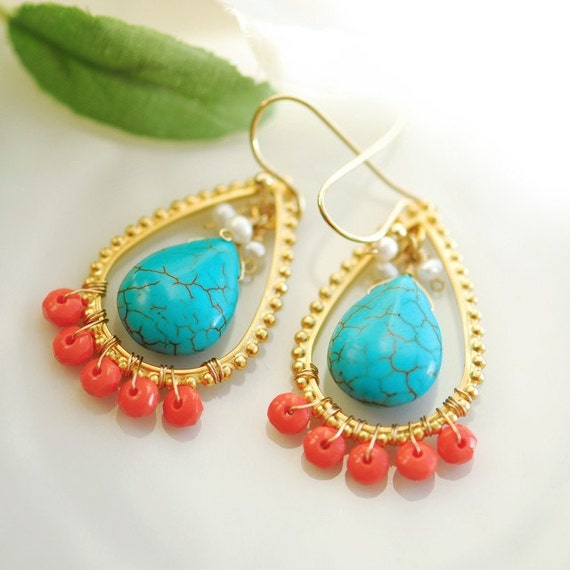 Coral and Turquoise earrings - Earrings Turquoise - Gold and turquoise handmade designer jewelry - Beach earrings