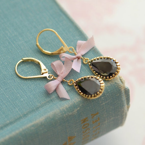 Black and pink earrings, Fabric bow earrings, pink bow earrings, Unique earrings, C'est la vie earrings