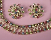 Vintage 1950s 1960s gorgeous multi colored pastel rhinestone and white enamel adjustable necklace choker and clip on earrings